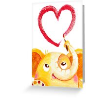 Painter - Rondy the Elephant painting a heart Greeting Card
