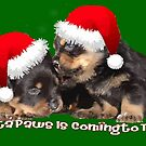 Vector Santa Paws Is Coming To Town Christmas Greeting by taiche