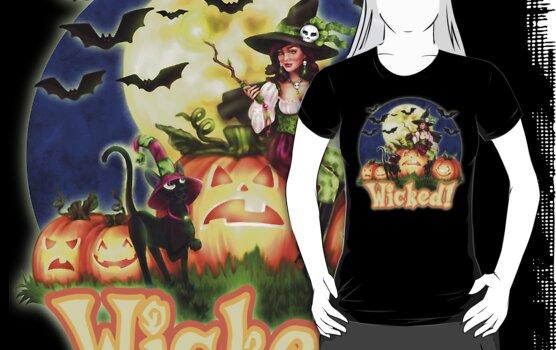 Halloween Witch & Black Cat by Brigid Ashwood