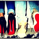 His and Hers Red Bottom Heels and Sneakers by Arts4U