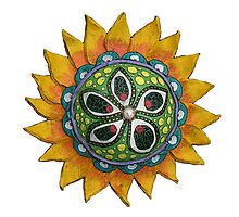 Sun Sunflower Mandala Original Print Design from Clay by KFStudios