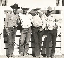 Gene Pruett, Jim Like, Bill Hancock and Larry Finley At the Phoenix 1946 Rodeo by Robert Stanford