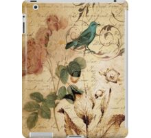 vintage bird roses floral botanical art  iPad Case/Skin