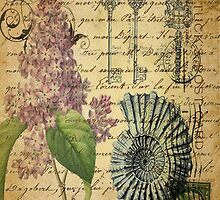 beach seashells hydrangea floral botanical art  by lfang77