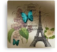 vintage paris eiffel tower butterfly lilac floral art  Canvas Print