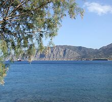 View of Mountains from Water Inlet on Island of Crete in Greece 3 by JaguarJulie