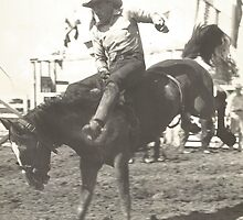 Jack Wade On Bronc - Circa Early 1940's by Robert Stanford