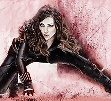 Black Widow with red background by chickenhead
