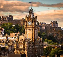 The Balmoral clock tower with the castle behind by Beautiful Edinburgh