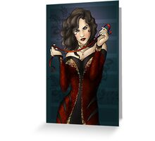 Gothic Girl With Red Ribbon Greeting Card