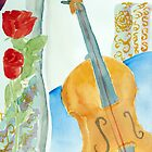 Violin and Roses by Selin Atay