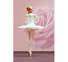 Ballerina in White with Pink Rose  Photographic Print