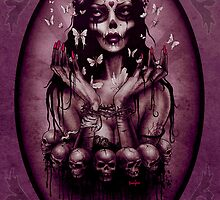 Day of the Dead, Day of the Dead Art, purple art, gothic art, skull art, 'Butterfly' by ScreamingDemons