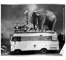 Barnum and Baileys Fabulous Road Trip Vacation Across The USA Circa 2013 5D22705 black and white with text Poster