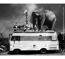 Barnum and Baileys Fabulous Road Trip Vacation Across The USA Circa 2013 5D22705 black and white with text Photographic Print