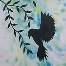 blue green yellow bird watercolor and acrylic modern art by cathyjacobs