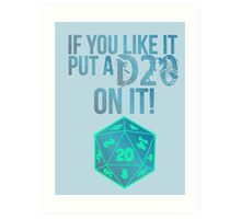 D20 Geeky Awesome Typography Tee & Print Art Print