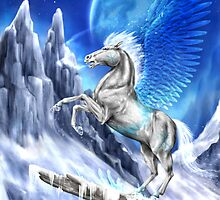 Fantasy ice winged horse by NZwolf