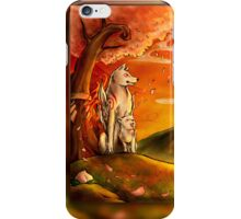 Okami wolf and pup iPhone Case/Skin