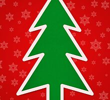 Merry Christmas Tree With Snowflake Background by taiche