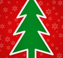 Christmas Tree on Red Background With Snowflakes by taiche