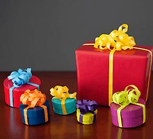Bright Colored Christmas Gift Boxes with Paper Bows by taiche