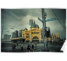 Flinders St Morning Poster