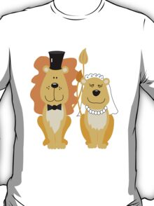 Lion and Lionness Wedding Couple Bride and Groom T-Shirt