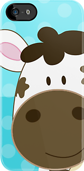 Happy Cow iPhone Case - Aqua dot by JessDesigns