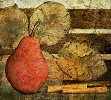Red Pear & Leaves by Barbara Ingersoll