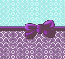 Ribbon, Bow, Quatrefoil Shape - Blue White Purple by sitnica