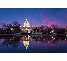 Washington DC United States Capitol Building Holiday Reflections Photographic Print