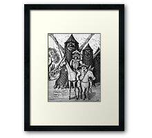 Don Quixote and Sancho Panza ink pen drawing Framed Print