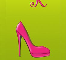 Stylish pink shoe for her, monogram K by Monartcanadian