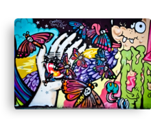 Hallucinogenic Graffiti Art.Back to sixties Canvas Print