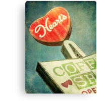 Heart's Coffee Shop Vintage Sign Canvas Print