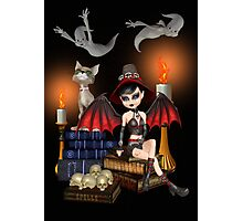 The Demon Witch, The Cat and The Ghosts Photographic Print