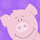 Happy Pig iPhone Case - Purple by JessDesigns