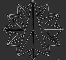 Crystalite Mandala Print - white on grey by TheMandalaLady
