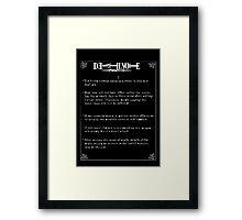 Death note.  Framed Print