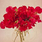 Red Sweet Pea Bouquet by Sandra Foster
