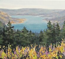 """Original Acrylic River Landscape painting - """"View From Above"""" by Karen Ilari"""