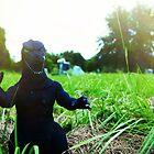 Godzilla attacks the cemetery  by Brian David  Braun