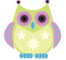 Star Owl - Green Purple Blue by Adamzworld