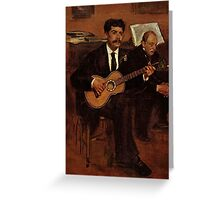 Edgar Degas French Impressionism Oil Painting Playing Guitar Greeting Card