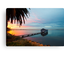 Ahh... The Serenity... Crawley Boat Shed at Sunrise Canvas Print