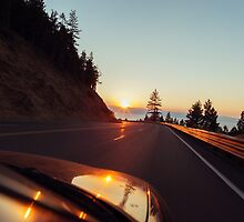 Highway Driving at Sunset by visualspectrum