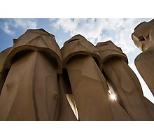 Whimsical Chimneys - Antoni Gaudi, La Pedrera, Barcelona, Spain Photographic Print