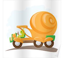 Orange snail car in cartoon style. Poster