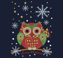 Cute Christmas Owl and Text Tee by walstraasart